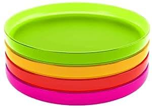 Zak Designs 2073-130 Stacky Set de 4 Plateaux Petits Hot Pop 12 cm
