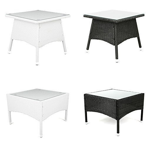 ESTEXO Polyrattan - Beistelltisch, Tisch, Rattan, Teetisch, Gartentisch (50x50x45 cm, Weiß)