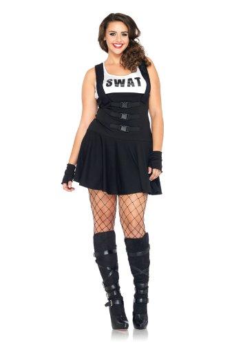 Leg Avenue 83850X - 2Tl.  Swat Einsatzleiterin Kostüm Set Suspender Kleid Und Fingerlose Handschuhe (Leg Avenue Polizei Kostüm)