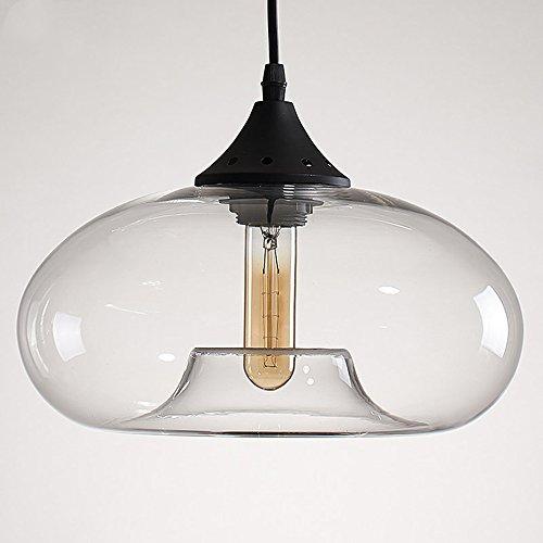 Industrielle Glas Pendelleuchte Transperat Vintage-Stil 1-Licht Kronleuchter Hängeleuchte Lampe (A) - Glas 1 Licht Kronleuchter