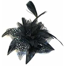 Black chiffon flower & feather fascinator on comb. Perfect for wedding, races or other special occasion.