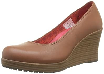 Crocs A-leigh Closed Toe Wedge, Women's Court Shoes, Brown (Cinnamon/Walnut), 6 UK