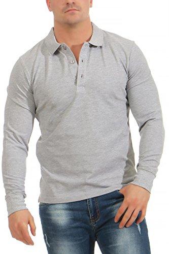 Mivaro Herren Langarmshirt Poloshirt Langarm Hemd Longsleeve Polo Shirt, Größe:3XL, Farbe:Grau meliert -