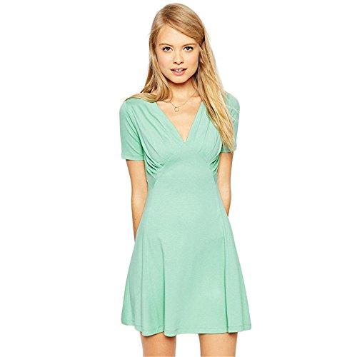 JOTHIN Manches Courtes Col V Robe Taille A-ligne de Robe Slim Taille Haute Couleur Unie Robe de Nouvelles Femmes Vert