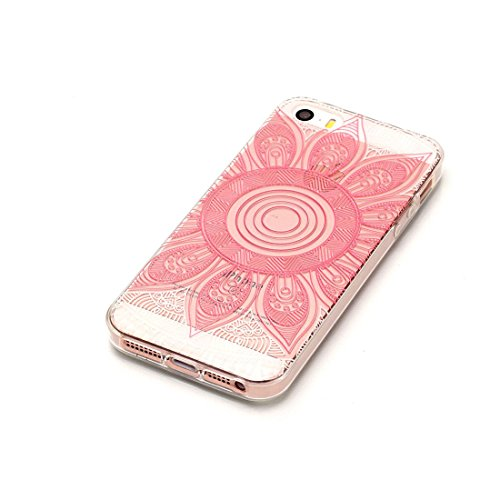 iPhone 5S Custodia, [Materiale flessibile TPU Gel trasparente del silicone Grip sottile e leggero ] Copertura iPhone 5 SE 5G Case, Shock Proof [ Cartoon Totem bianca ] # # 1