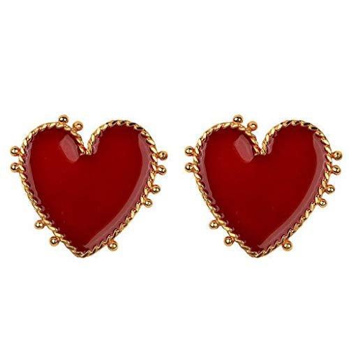 Große Glas-medien (SO-buts Mode übertrieben flirtend sexy Metall große rote Liebe Ohrringe Damenschmuck (Gold))
