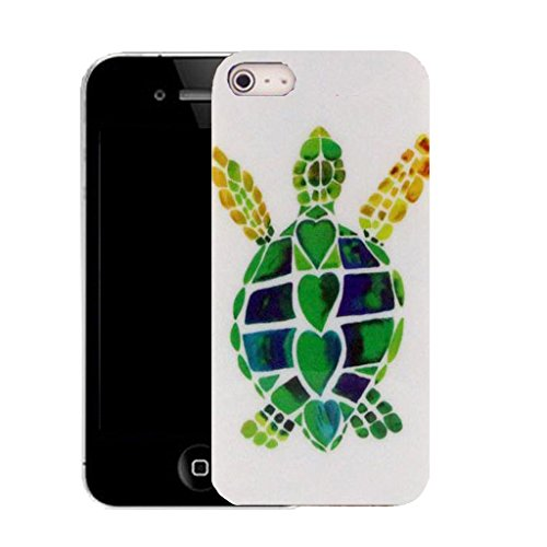 """Mobile Case Mate IPhone 6 4.7"""" clip on Silicone Coque couverture case cover Pare-chocs + STYLET - green turtle pattern (SILICON)"""