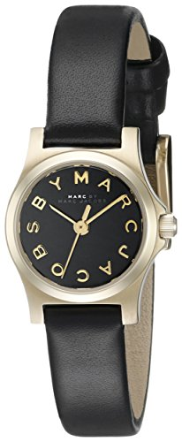 Marc Jacobs Women's 22mm Black Calfskin Band Steel Case Quartz Analog Watch MBM1240