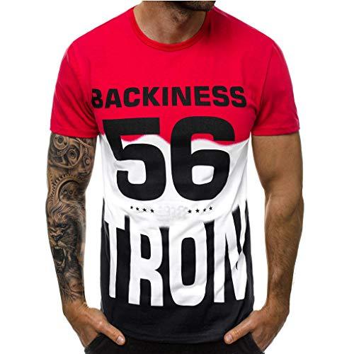 er T-Shirts Patchwork Kurzarmshirt Tops Casual Kurzarm Crew Neck Tee Basic Shirt Sweatshirts ()