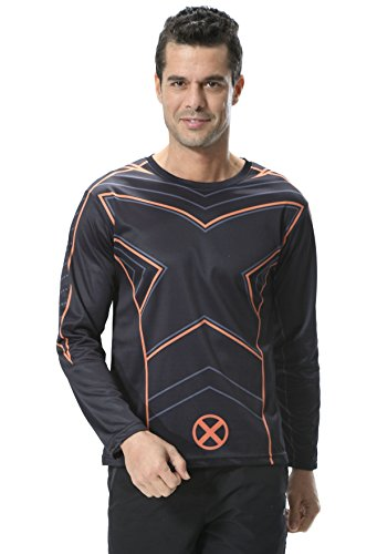 Cody Lundin Uomo Supereroe Manica Lunga T-Shirt Sport Training Running Maglietta The X-Men Long Sleeve Stampato Shirt (XL)