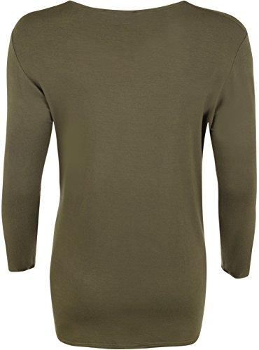 WearAll - T-shirt simple à manches longues - Hauts - Femmes - Grandes tailles 40 à 54 Kaki
