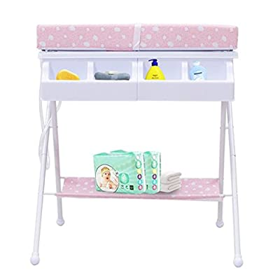 Baby Changing Table Metal Tube Nursing Desk Collapsible Portable Bathtub Nursing Massage Table Sponge Touch Table Multifunction 0~2 Year Old Baby Shower Stand (Color : B)