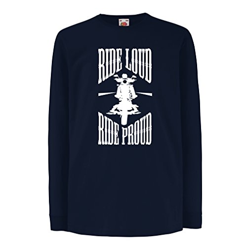 N4695D Kinder-T-Shirt mit langen Ärmeln Ride Loud! (12-13 years Blau Mehrfarben)