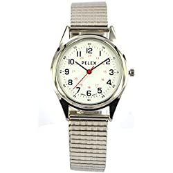 Expandable Watch - Stretchable Watch Strap - Stainless Steel - Black Face