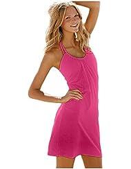 Ninimour Fashion - kurzes Strandkleid Bikini Cover (s, rosa)