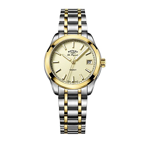 Rotary Women's Quartz Watch with Yellow Dial Analogue Display and Two Tone Stainless Steel Bracelet LB90174/03