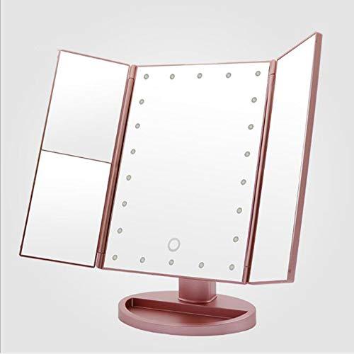 Miroir de maquillage XIAHE LED Tactile Pliant À Trois Faces Loupe À Induction Miroir Miroir Miroir Miroir Pliant Multifonctionnel (Couleur : Or Rose)