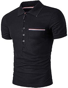 Hombres Camisa Polo Botón De Cuello Camiseta De Manga Corta Casual Con Bolsillos Negro XL