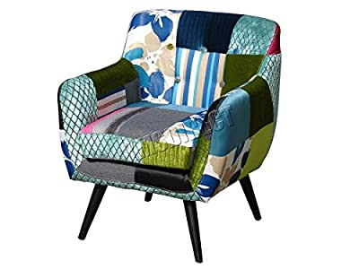 FoxHunter Patchwork Chair Fabric Vintage Tub Armchair Seat Dining Room Living Bedroom Office Furniture PC029 - low-cost UK light shop.