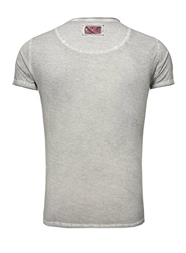 Key Largo Herren T-Shirt TURKEY Vintage Look verwaschen Printshirt Sommershirt Flaggenmotiv Em 2016 Europameisterschaft Slim Fit Schnitt Rundhalsausschnitt Grau