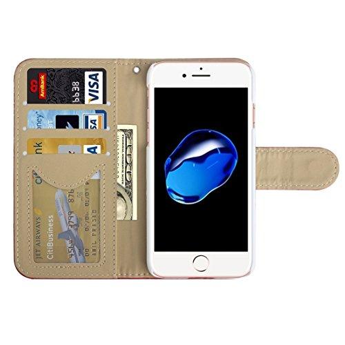GHC Cases & Covers, AA00355 Für iPhone 7 Diamond Gitter Textur Horizontale Flip Leder Schutzhülle mit Halter & Card Slots & Wallet & Photo Frame ( Color : White ) Red