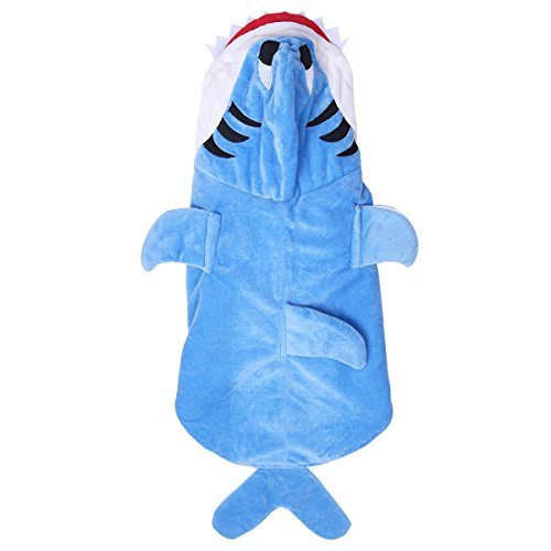 YiZYiF Haustier Hund Katze Kleidung Welpen Blau Hai Kostüm Hoodie Pullover mit Kapuze Overall Winter Warme Samt Jacke für Halloween Cospaly Karneval Blau M