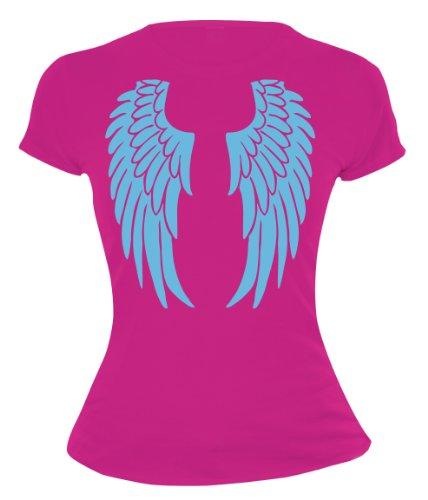buXsbaum Damen Girlie T-Shirt Engelsflügel | Rückendruck | -