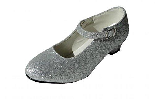 Scarpe grigie con paillettes argentate, per Flamenco e Tango, da ragazza/bambina/donna Argenté Pailleté