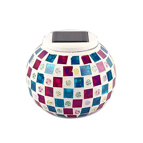 AOLVO solarbetrieben, wasserdicht Light Mosaik Glas Ball RGB Farbwechsel Outdoor LED Tisch Lampe für Weihnachten Garten Terrasse Party Rot/Blau - Rot-glas-tisch-lampe