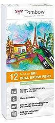 Tombow ABT-12P-2 Fasermaler Dual Brush Pen mit zwei Spitzen 12er Set, pastellfarben