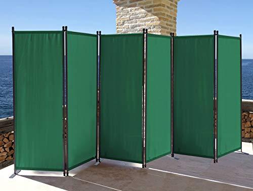 QUICK STAR Paravent 6 Teilig 340x165cm Stoff Raumteiler Garten Trennwand Balkon Sichtschutz Stellwand Faltbar Grün