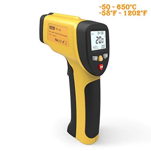 Dr.meter IR-40 Termómetro Dual-Láser Infrarrojos, -50 ~ 650ºC, Batería Incluida 9V - Amarillo