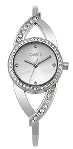 Oasis Ladies Stone Set Twist Silver Bangle Watch B1020