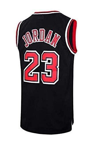 runvian NBA Jersey Michael Jordan Nr. 23 Basketball Trikot Chicago Jersey Bulls Basketball Weste Shirt Basketball Anzug für Herren Männer (S, Schwarz)