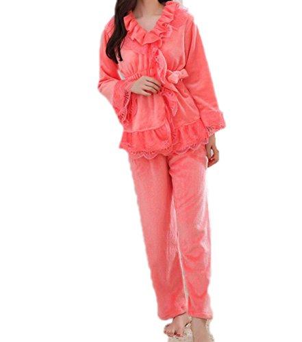 QPALZM QPALZM Pigiami Spessa In Velluto Corallo In Manica Lunga Invernale Donna Due Set Di Pigiami Manica Lunga In Abbigliamento Per La Casa WatermelonRed