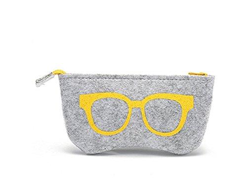 Young shinee Brillenetui Portable Sonnenbrille Tasche Filz Brillenetui Box Frame Aufbewahrungstasche (gelb) für Lesebrille (Farbe : Yellow, Größe : 18x9cm)