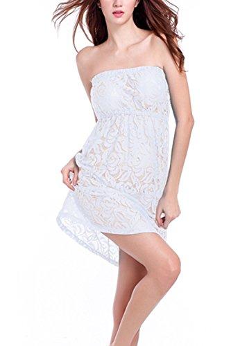 Robe Sexy Tube Sheer Lace Swing Beach féminin white