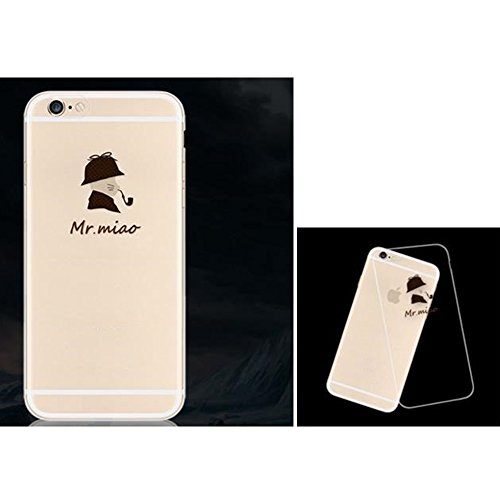 Lustig Hülle Cover for Apple iPhone 5 5s SE Handyhülle, Aohro Transparent Weich TPU Silikon Schutzhülle Bumper Case mit Cartoon Muster + Eingabestift + Staubstecker, Papierflieger Herr Katze