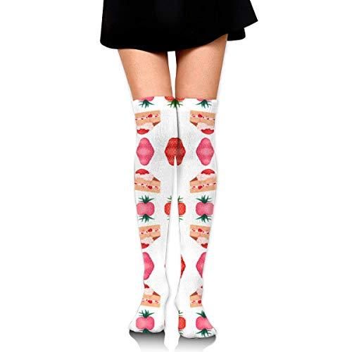DGHKH Cute Pink Strawberry Shortcake Fabric (4465) Knee High Graduated Compression Socks for Unisex - Best Medical, Nursing, Travel & Flight Socks - Running & Fitness