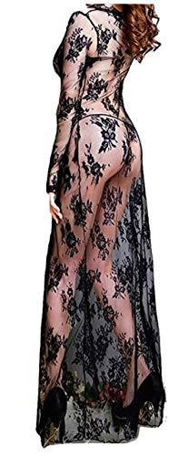 PICCOLI MONELLI Bata sexy mujer lace largo negro transparente
