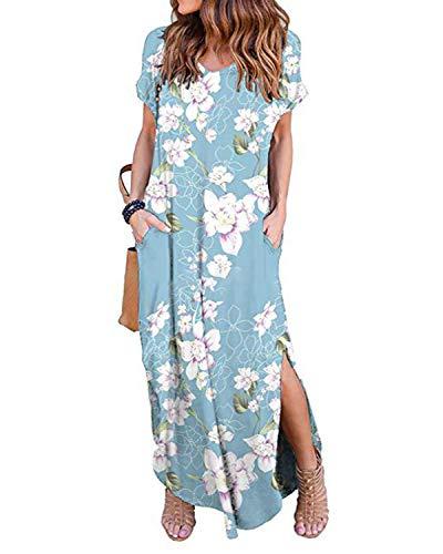 Kidsform Femme Robe Longue d'été Boheme Manches Courtes Grande Taille Chic Maxi Robe de Plage Col Rond Fleurie Casual Rode de Soirée Cocktail avec Poches X-Rose Bleu 36 EU (Fabricant: Taille S)