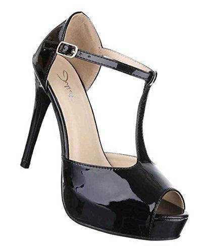 Damen Pumps Schuhe Peep Toe High Heels Schwarz Schwarz