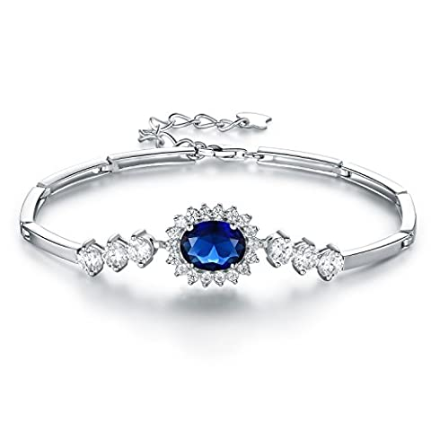 JiangXin Diana Princesse Kate Middleton Bracelets de Fiançailles Mariage Bijoux Femme en Argent Sterling 925 en Saphir de Synthèse Bleu