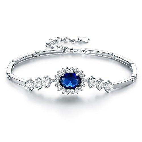 JiangXin 14.5+4cm Luxus Prinzessin Diana Blau Synthetisch Saphir 925 Sterling Silber Armband Damen Armrief Fantastisches Geschenk