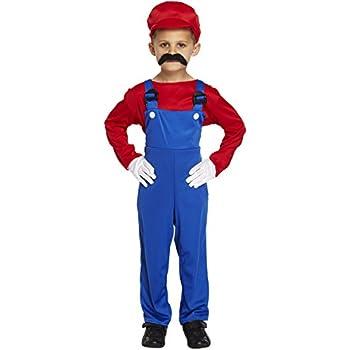 997496fd5e2e Boys Kids Super Mario Brothers Luigi Fancy Dress Costume Size Medium 7-9  Years Workman Builder Plumber