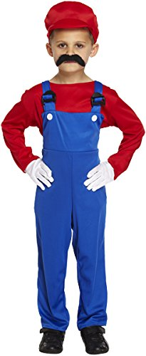Jungen Rot Super Mario Arbeiter Fancy Dress Party Kostüm Alter 4–12 Kinder