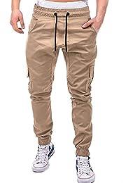 WQIANGHZI Pantaloni Pantaloni Uomo Cargo Lavoro Casual Tasche Laterali  Pants Uomini Multi Tasche Cintura Elastica Sport Jogging… 8eda6e7c08f