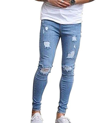 Qitun Elasticizzati da Uomo Strappati Jeans Taglio Pantaloni Skinny Sguardo Distrutto Patchato Stile 03Blu S