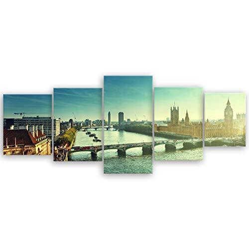 ge Bildet® hochwertiges Leinwandbild - Westminster in London - UK - 200 x 80 cm mehrteilig (5 teilig) 2211 I