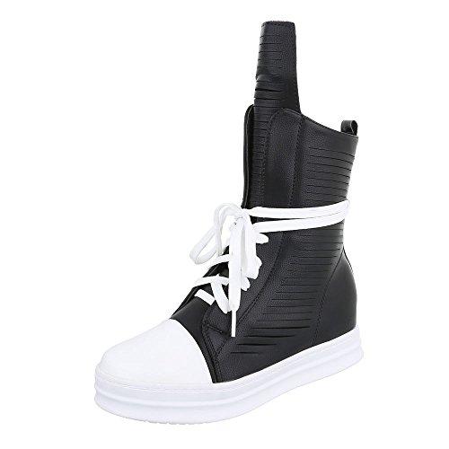 Ital-Design High-Top Sneaker Damenschuhe High-Top Keilabsatz/Wedge Sneakers Reißverschluss Freizeitschuhe Schwarz